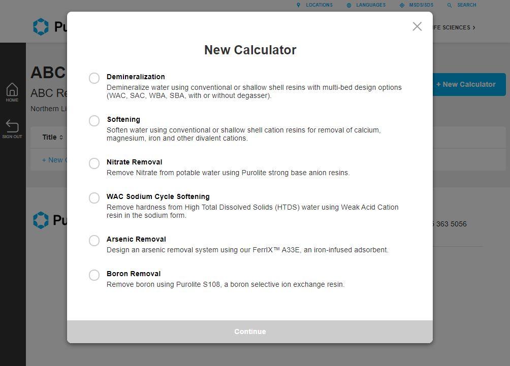 New Calculator chooser pop up